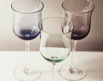 Three Vintage Colorful Wine Glasses