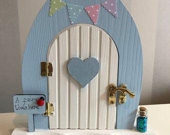 Beautiful pastel bunting hand-painted wooden fairy door