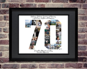 70th Birthday / Anniversary Photo Collage - 70th Birthday Centerpiece - 70th Birthday Gift - 70th Anniversary Gifts - Custom Photo Collage