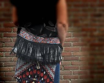 Schoudertas ibizalook, fringes bag, shoulder bag, boho bag, jeans bag