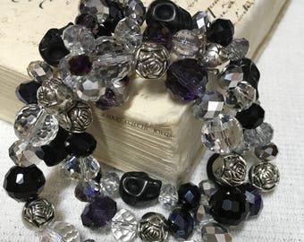 Bracelet Set Skulls Roses Crystals Black Purple Clear Goth Punk Day of the Dead Dia De Los Muertos Grunge Darkness Gothic Jewelry Bracelets