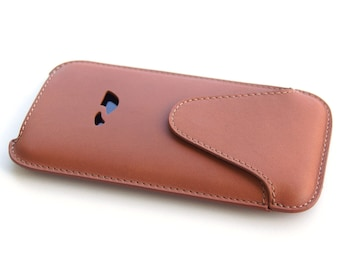 iPhone 7 Leather Pouch - iPhone 7 Sleeve case - iPhone 7 Slim Case - Leather case iPhone 7 - Natural Leather - TAN (LIGHT BROWN)