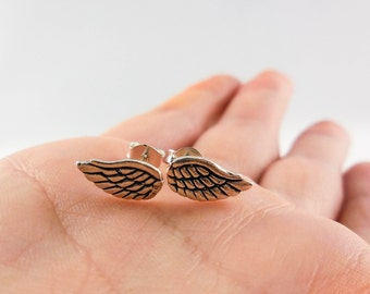 925 Sterling Silver Angel Wings Stud Earrings, Angel Wings Studs, Angel Wings Jewelry, Angel Wings Earrings, Wing Studs, Wing, Religion
