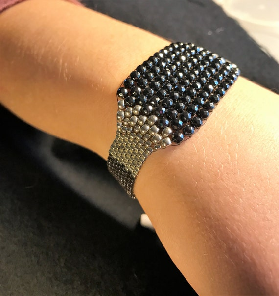 NO 135 Hand Beaded Crystal and Glass Bracelet