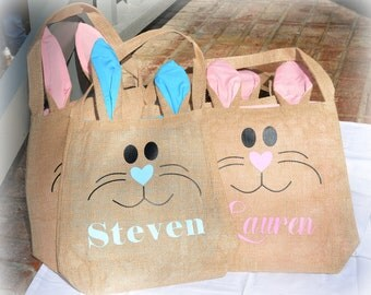 Personalized Easter Bunny Burlap Ear Bags, adorable bunny ear burlap bags with rabbit face and your child's name Easter Bunny treats basket