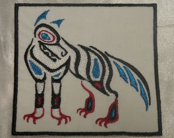 Embroidered Pacific Northwest Wildlife Art Blue Eyed White Wolf Patch Iron On Sew On USA