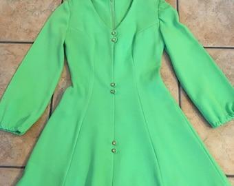 Late 1950's International Ladies Garment Workers Union Short Green Dress • Size 3• Vintage Dress • ILGWU