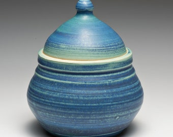 Hand Thrown Aqua Blue Stoneware Lidded Container Sugar Bowl
