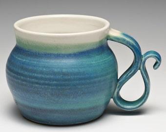 Hand Thrown Aqua Blue Stoneware Mug Coffee Cup
