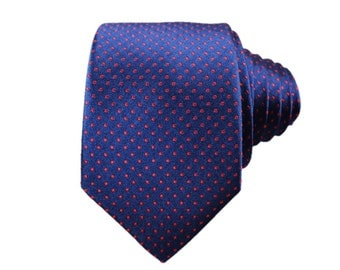 Navy and Red Pindot Silk Tie