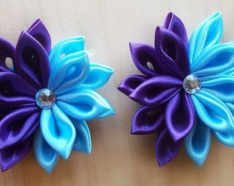Kanzashi Hair Clips, Flower Hair clips, Blue Hair Flower, Purple Hair Flower, Blue and Purple Hair Flower, Hair Flowers, Hair Clips