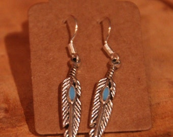 Sterling and tibetan Silver Feather turquoise earrings
