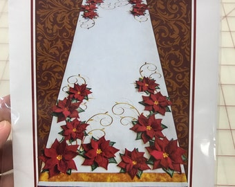 Poinsettia Table Runner with 3D petals made by machine embroidery