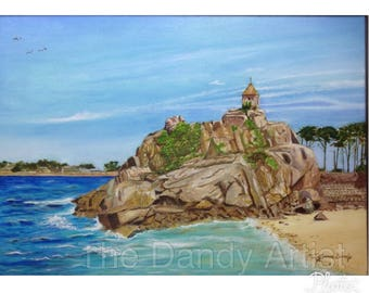 Seascape, Port Blanc, Bretagne, France, original oil painting