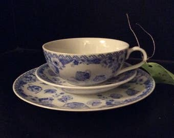 The English Tea Collection-3 piece set-plate-cup-saucer-vintage-Andrea by Sadek-floral-flowers-blue-white-kitchenware-drinkware-antique