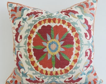 SALE - Suzani Cushion Cover Embroidered Suzani Pillow Embroidered Pillow Suzani Pillowcase Floral Pillow Beige Pillow Throw Pillow