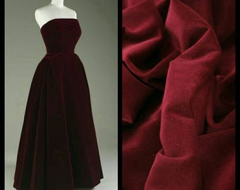 Custom Made 1950's wine red Strapless velvet Dress
