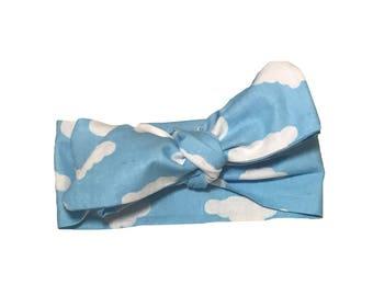 Cloud Print Wrap Head Bow