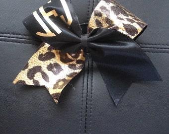 Cheetah Print Monogrammed Cheer Bow