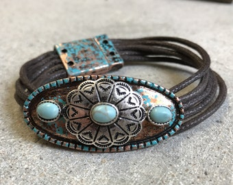 Western Concho Copper, Silver, Turquoise and leather bracelet