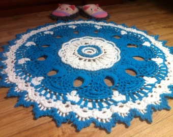 3D crochet doily Round doily rug 30.7 inches Crochet rug White doily rug Decorative carpet Crochet lace rug surround  children decor rugs