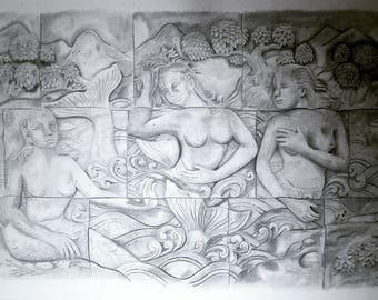 Realism drawing of stone wall mermaids