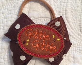 Gobble Gobble Thanksgiving bow