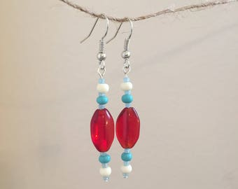 Red & Blue Glass Drop Earrings