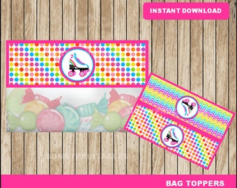 Roller Skate bags toppers; printable Roller Skating treat bags toppers, Roller Skate party toppers instant download