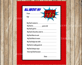 All About My Dad, Father's Day Questionnaire , Father's Day Card, Instant Download,  Father's Day Gift, Gift for Dad, Kid's