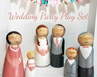 Peg Doll Wedding Play Set, Wedding Toy, Flower girl/Page Boy Gift, Waldorf Wooden Toys, Unique Wedding Kids Table Decor, Rustic Wedding,