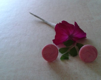 Pink Metallic Polymer Clay Studs