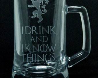 Game of Thrones Inspired Glass Pint Tankard