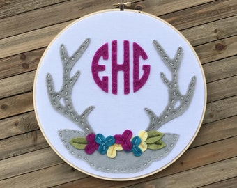 """10"""" Embroidery Hoop with Antlers and Flower Crown Design"""