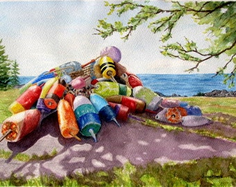 Buoys seascape painting orignal watercolor lobster buoys wooden buoys Maine art nautical coastal landscape 11x15