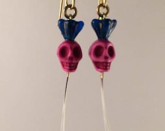 Skull cat whisker earrings
