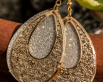 Gold and Silver Glitter Teardrop Dangling Earrings, Floral Embossed, High Fashion, Statement, Shiny, Classy, Hip Hop, Urban