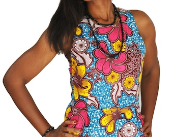 Wax printed in blue and pink flower dress
