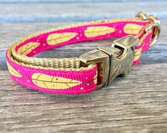 "Yellow Leaves on Azalea Teacup Dog Collar, Teacup Dog Collar, 3/8"" Dog Collar, Leaf Dog Collar, Extra Small Dog Collar, Pink Red Dog Collar"