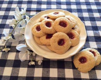 Raspberry Thumbprint Cookies in a Cookie Tin, Sugar Cookies, Jelly Cookies, Gifts under 20, Gifts under 25, Gift Basket, Gift Package