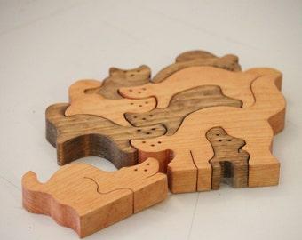 Vintage Handmade Cat Puzzle