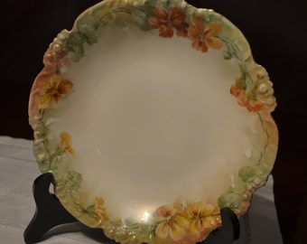 Very Unique Late 1800's/Early 1900's Jean Pouyat Limoges France Autumn Colored Floral Bowl with Gold Rim - Stamped & Signed