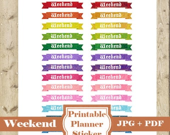 WEEKEND Planner Stickers –26 Ribbons Printable Weekend Banner Happy Planner Printable Planner Sticker Erin Condren Weekend Stickers DOWNLOAD