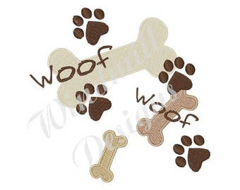 Dog Bones and Paws Woof Woof - Machine Embroidery Design