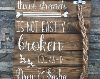 A Cord of 3 Strands is not easily Broken Sign - Rustic Wedding Sign - Ceremony Signs - Personalized Sign - Rustic - Prayer - Scripture