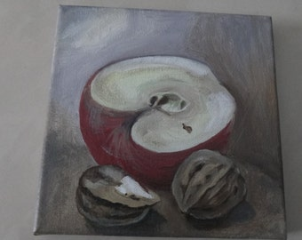 """Original oil painting  on  canvas,,Apple and nats"""""""