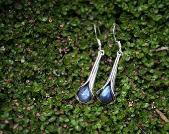 Silver Tulip Drop Earrings With Fiery Blue Labradorite