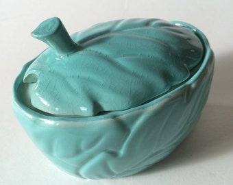 Vintage Carlton Ware Blue Leaf Jam Pot