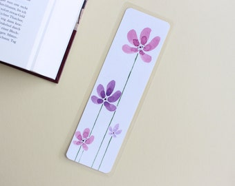 Bookmark purple flowers hand-painted watercolor laminated two-sided original gift book lovers girl woman