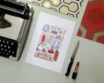 A3 THE SHINING Art Print Colour / Black and White Line Drawing Poster 80's Horror Movie Quote Illustration Redrum Typewriter Overlook Hotel